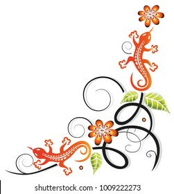 Colorful lizards with leaves and filigree ornament. Border.