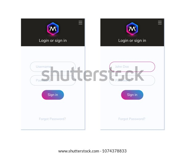 Colorful Login Screen Template Mobile Pc Stock Vector (Royalty Free