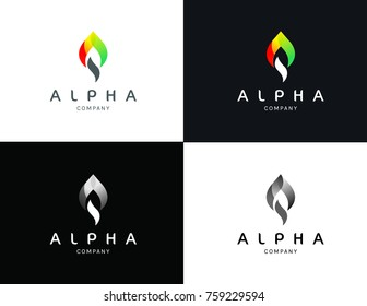 colorful A logo - alpha logo template