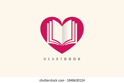 Colorful logo for book club vector isolated. Read books together. Simple style, flat design of logotype. Education concept. Heart shape, book lovers.