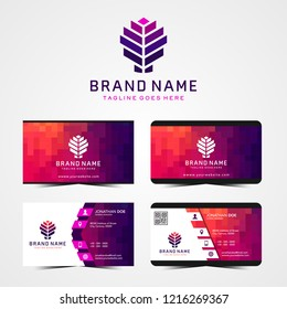 colorful logo and business card template, polygon concept