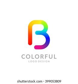 "Colorful logo design. Letter ""B""."