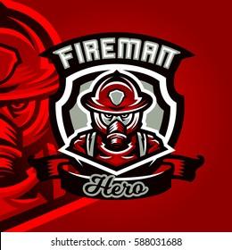 Colorful logo, emblem, a sticker, a firefighter in uniform, profession, dangerous work, a gas mask and helmet. Vector illustration