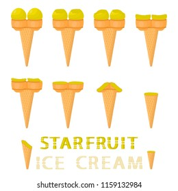 Colorful logo icon illustration for natural carambola ice cream in different forms. Carambola pattern consisting of sweet cold ice cream, tasty frozen dessert. Fresh taste fruit ice cream of carambola