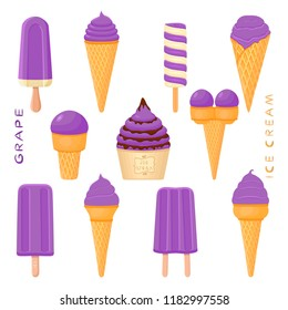 Colorful logo icon illustration for natural grape ice cream in different forms. Grape pattern consisting of sweet cold ice cream, tasty frozen dessert. Fresh taste fruit ice cream of grape.
