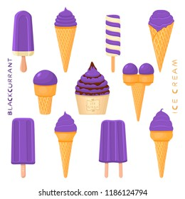 Colorful logo icon for natural blackcurrant ice cream in different forms. Blackcurrant pattern consisting of sweet cold ice cream, tasty frozen dessert. Fresh taste fruit ice cream of blackcurrant.