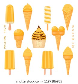 Colorful logo icon for natural passion fruit ice cream in different forms. Passion fruit pattern consisting of sweet cold ice cream, tasty frozen dessert. Fresh taste ice cream from passion fruit.