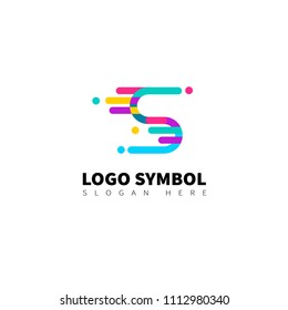 colorful logo with colorful lines with the letter S