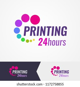 Colorful logo for printing salon on different backgrounds. A Wonderful Logo for use in digital print and copy salons of photo and documents.