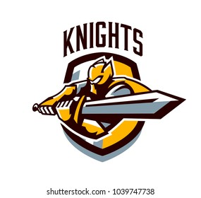 A colorful logo, a sticker, an emblem, a knight is attacking with a sword. Gold armor of the paladin, swordsman, warrior, crown, shield, lettering. Mascot sports club, vector illustration