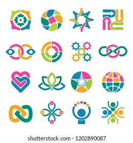 Colorful logo template. Associates integrated alliance round vector abstract shapes for business or creative logotypes. Creativity logotype multicolor, corporate and trendy emblem illustration