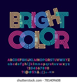 Colorful logo with text Bright Color. Vector Alphabet letters, Numbers and Punctuation Symbols