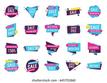 Colorful logos with sale lettering set