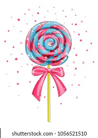 Colorful lollipop candy isolated on white, cartoon vector illustration. Trend colors.