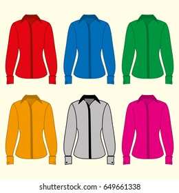 Colorful long-sleeved shirts icon