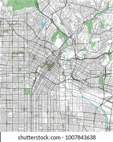 Colorful Los Angeles vector city map