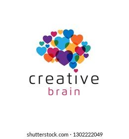 Colorful love, heart idea brain logo for creative - Vector