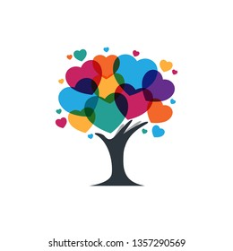 Colorful love, tree with hand abstract concept logo for creative - vector