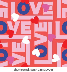 Colorful Love typography with small heart valentines day mood seamless pattern vector Design for fashion , fabric, textile, wallpaper, cover, web , wrapping ,Valentines day and all prints on pink
