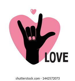 Colorful I Love You sign hand gesture. Vector illustration.