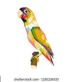 colorful lovebird illustration. wpap style