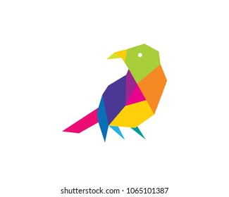 Colorful Low Poly Bird Technology Logo In White Isolated Background