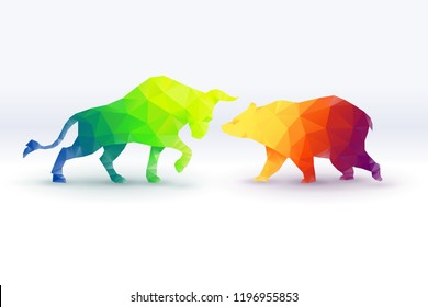 Colorful of low poly Bullish versus Bearish, stock market concept, vector art and illustration.