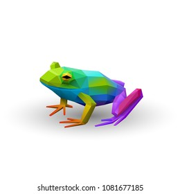 Colorful low poly frog, logo element, eps10 vector