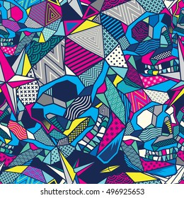 Colorful Low Poly Geometric Skull Seamless Pattern