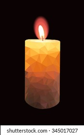 Colorful low poly mosaic of burning candle on black background vector illustration.Candle of triangles