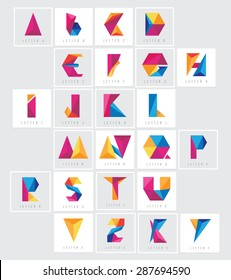 colorful low polygon alphabet letters collection set. Abstract geometric triangular multicolored logo elements for corporate visual identity