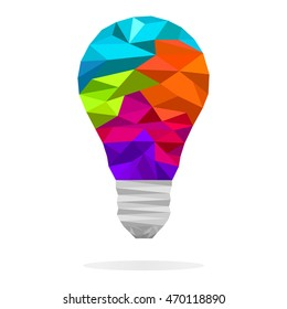 Colorful  low polygon light bulb concept of creative idea. Vector design element for logo, banners, sign, presentation, graphic or website layout.