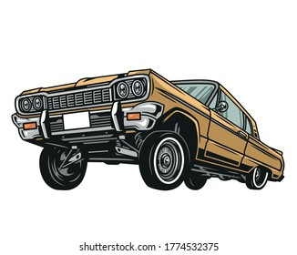 Colorful low rider retro car concept in vintage style isolated vector illustration