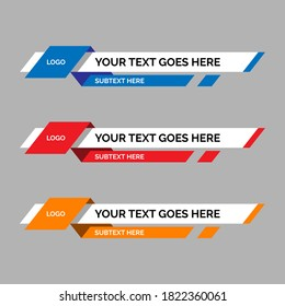 colorful lower thirds set template vector. modern, simple, clean style. flat design with paper layer effect