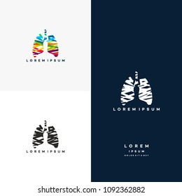 Colorful Lungs logo vector, Health lungs logo designs template, design concept, logo, logotype element for template