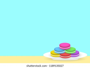 Colorful macarons on white plate, with cyan background. Vector eps 10.