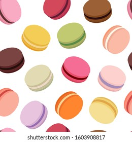 Colorful macarons seamless pattern. Sweet french macaroons isolated on white background. Vector illustration in flat style.