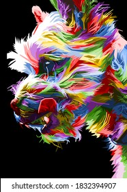 colorful Maltese dog head with cool isolated pop art style backround. WPAP style