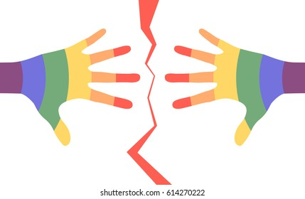 Colorful man hands separated by the red broken line
