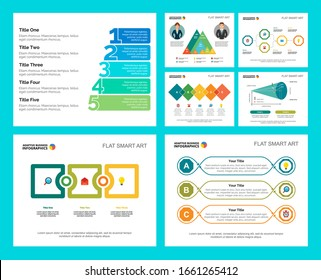 Colorful management or consulting concept infographic charts set. Business design elements for presentation slide templates. For corporate report, advertising, leaflet layout and poster design.