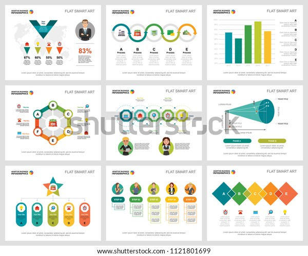 Colorful management or teamwork concept infographic charts set. Business design elements for presentation slide templates. Can be used for financial report, workflow layout and brochure design.