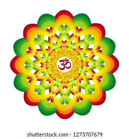 Colorful mandala with Aum / Om  / Ohm sign. Red, orange, yellow, green colors. Spiritual symbol. Vector graphics