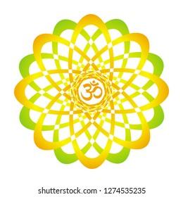 Colorful mandala with Aum / Om  / Ohm sign. Orange, yellow, green colors. Spiritual symbol. Vector graphics