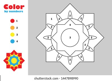 Colorful mandala in cartoon style, color by number, education paper game for the development of children, coloring page, kids preschool activity, printable worksheet, vector illustration