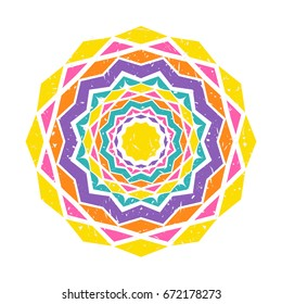 Colorful mandala design with geometrical shapes in simple retro style. Vector illustration