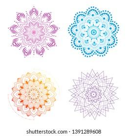 Colorful mandala vector illustration set.