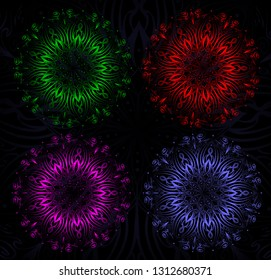 Colorful Mandalas isolated on black background - vector