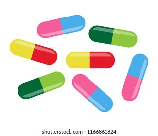 Colorful many medical drugs icon or Tablets icon symbol 3D isolated on white background