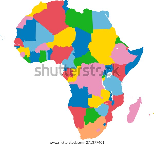 Colorful Map Of Africa.Colorful Map Africa Stock Vector Royalty Free 271377401