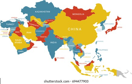 Outline Map Of Asia Labeled.Colorful Labeled Map Asia Russia Labels Stock Vector Royalty Free